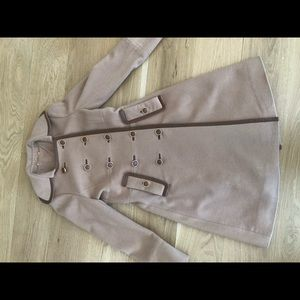 Tory Burch camel and leather with gold detail coat